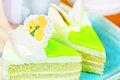 Sweet bread and cake with flower green cream Royalty Free Stock Images