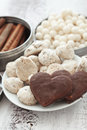 Sweet breakfast coffe candies spices linen napkin selective focus Royalty Free Stock Photo