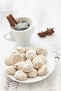 Sweet breakfast coffe candies spices linen napkin selective focus Stock Photo