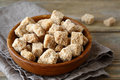 Sweet brown sugar in a bowl close up Stock Photography