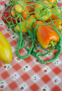 Sweet bulgarian pepper in a string market bag Stock Photography