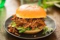 Sweet bun barbecue beef brisket bun with watercress leaves Royalty Free Stock Photo