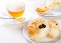 Sweet bun with raisin for tea break time Royalty Free Stock Photo