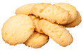 Sweet butter shortbread biscuits isolated several on white background Stock Photography