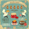 Sweet Cafe Menu Retro Design Royalty Free Stock Images