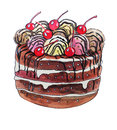 Sweet cake with cherries watercolor illustrations of ice cream and Stock Photos