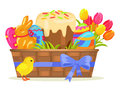 Sweet Cake, Chocolate Bunny, Color Eggs on Easter