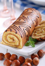Sweet cake roll with hazelnuts cream Stock Image