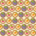Sweet Cakes with Berry and Carrot Seamless Pattern Background