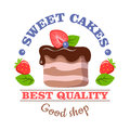 Sweet Cakes. Best Quality. Good Shop. Vector Logo