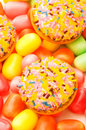 Sweet cakes and colourful gums Royalty Free Stock Photography