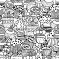 Sweet cakes, cupcakes. Black and white seamless pattern with dessert for coloring books. Doodle illustration