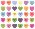 Sweet Candy Hearts. Mini-candies, Talk About Sweets For Valentine`s Day, Dishes From Sugar Hearts. Set Of Different Sweet Heart