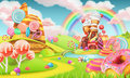 Sweet candy land. Cartoon game background. 3d vector Royalty Free Stock Photo