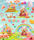 Sweet candy land. Cartoon game background. Vector icon set