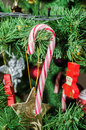 Sweet candy stick Christmas ornament tree, detail, close up Royalty Free Stock Photo