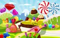 Sweet candy world fairy landscape, panorama. Sweets, candies, caramel. Cartoon game background. Vector illustration