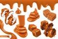 Sweet caramel, set 3d vector illustration