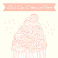 Sweet card with cupcake made in Royalty Free Stock Images