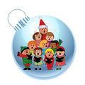 Sweet carolers on a bauble Royalty Free Stock Image