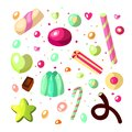 Sweet cartoon candy set. Collection of sweets, cartoon style. Jelly, candy, cakes, sweet donut and marmelade. Huge set