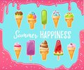 Sweet cartoon ice cream set with melted pink background. Vector colorful ice creams with inspirational inscription