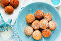 Sweet cheese donuts deep fried, Christmas treat for kid Royalty Free Stock Photo