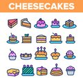 Sweet Cheesecakes, Bakery Linear Vector Icons Set