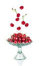 Sweet cherries in glass bowl Royalty Free Stock Photography