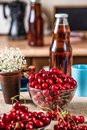Sweet cherries in a glass bowl Royalty Free Stock Photo