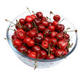 Sweet cherries in glass plate Stock Image
