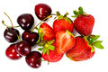 Sweet Cherries and Strawberry Isolated on White Background Royalty Free Stock Photo