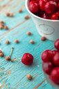 Sweet cherry in bowl on rustic table ripe fresh wild cherries fruit selective focus Royalty Free Stock Photo