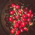 Sweet cherry in a bowl transparent Stock Photos
