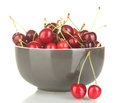Sweet cherry in grey bowl Royalty Free Stock Image