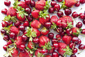 Sweet cherry and strawberry Royalty Free Stock Photo