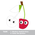 Sweet cherry to be colored. Vector trace game. Royalty Free Stock Photo