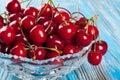 Sweet cherry in vase Royalty Free Stock Photo