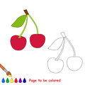 Sweet cherry vector cartoon to be colored. Royalty Free Stock Photo