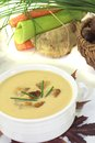 Sweet chestnut soup with vegetables on a light background Royalty Free Stock Photography