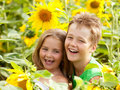 Sweet children in sunflower field Royalty Free Stock Image