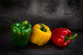Sweet chili peppers on table. Royalty Free Stock Image