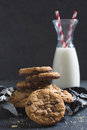 Sweet chip cookes homemade cookies and bottle of milk selective focus Royalty Free Stock Image