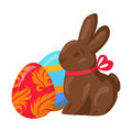 Sweet Chocolate Bunny and Two Multicolored Eggs