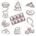 Sweet chocolate doodle sketch icons set eps Stock Photo