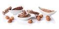 Sweet chocolate hazelnut spread with cocoa powder