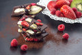 Sweet chocolate slices with fruits with cocoa powder and fruit on metal white plate sweet dessert on black backgroud image for Stock Photos