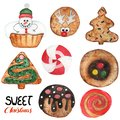Sweet Christmas Cookies Set Background