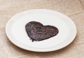 Sweet cocoa heart in the semolina pudding lovely Stock Photography