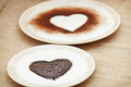 Sweet cocoa hearts in semolina pudding Royalty Free Stock Photo